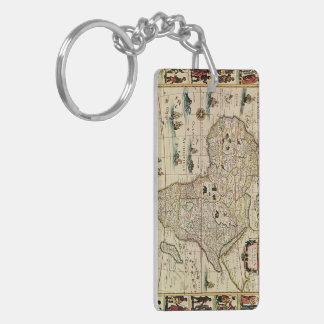 Mapa de África de los 1660's del vintage de Willem Llavero Rectangular Acrílico A Doble Cara