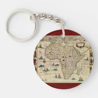 Mapa de África de los 1660's del vintage de Willem Llavero Redondo Acrílico A Doble Cara