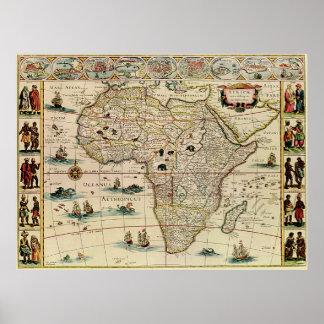 Mapa de África de los 1660's del vintage de Willem Póster