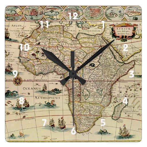 Mapa de África de los 1660's del vintage de Willem Reloj Cuadrado