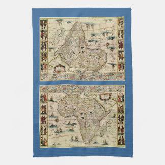 Mapa de África de los 1660's del vintage de Willem Toalla De Cocina