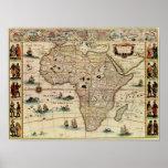 Mapa de África de los 1660's del vintage Impresiones