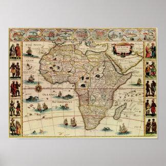 Mapa de África de los 1660's del vintage Póster