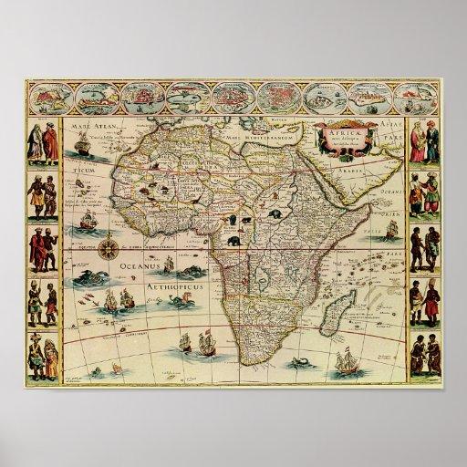 Mapa de África de los 1660's del vintage Posters