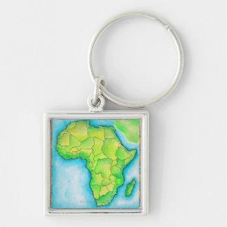 Mapa de África Llavero Cuadrado Plateado
