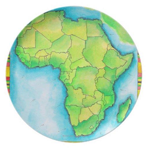 Mapa de África Platos Para Fiestas