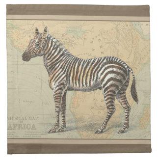 Mapa de África y una cebra Servilletas Imprimidas
