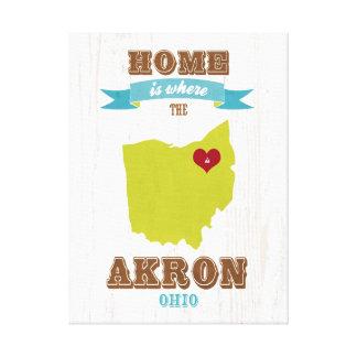 Mapa de Akron, Ohio - casero es donde está el cora Impresión En Lienzo Estirada