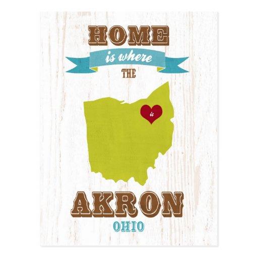 Mapa de Akron, Ohio - casero es donde está el cora Tarjetas Postales