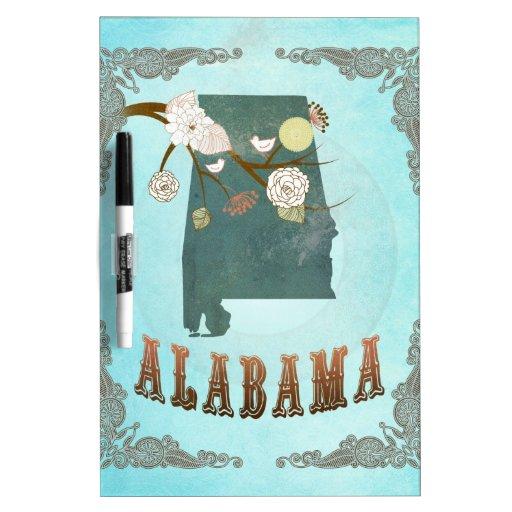 Mapa de Alabama con los pájaros preciosos Tableros Blancos