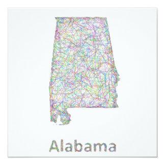 """Mapa de Alabama Invitación 5.25"""" X 5.25"""""""