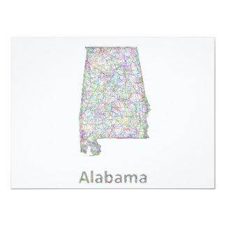 """Mapa de Alabama Invitación 6.5"""" X 8.75"""""""