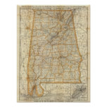 Mapa de Alabama Póster