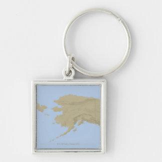 Mapa de Alaska 3 Llavero Cuadrado Plateado