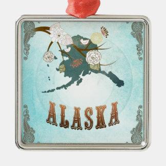 Mapa de Alaska con los pájaros preciosos Adorno Cuadrado Plateado
