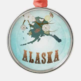 Mapa de Alaska con los pájaros preciosos Adorno Redondo Plateado