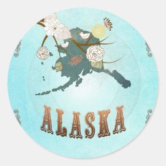 Mapa de Alaska con los pájaros preciosos Pegatina Redonda