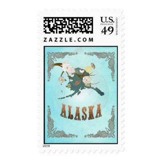 Mapa de Alaska con los pájaros preciosos Sellos