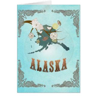 Mapa de Alaska con los pájaros preciosos Felicitaciones