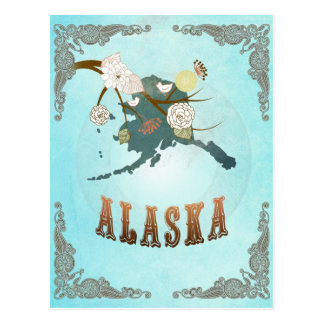 Mapa de Alaska con los pájaros preciosos Postal