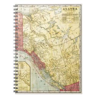 Mapa de Alaska del vintage Spiral Notebooks