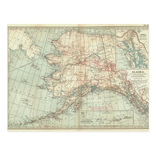 Mapa de Alaska del vintage Tarjetas Postales