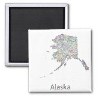 Mapa de Alaska Imán Cuadrado