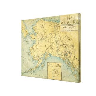 Mapa de Alaska Lona Envuelta Para Galerias