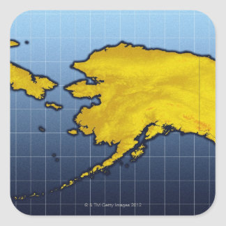 Mapa de Alaska Pegatina Cuadrada