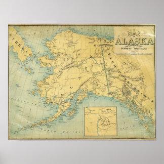 Mapa de Alaska Póster