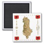 Mapa de Albania + Imán de las banderas