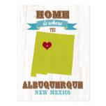 Mapa de Albuquerque, New México - casero es donde Tarjeta Postal