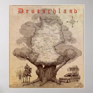 Mapa de Alemania. Estilo de un grabado viejo Póster