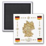 Mapa de Alemania + Imán de las banderas