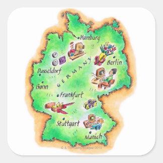 Mapa de Alemania Pegatina Cuadrada