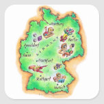Mapa de Alemania Pegatina Cuadradas Personalizada