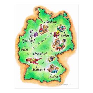 Mapa de Alemania Tarjeta Postal