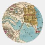 Mapa de Alexandría VA y ciudades vecinas Pegatinas Redondas