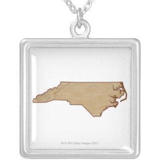 Mapa de alivio de Carolina del Norte Colgante Cuadrado