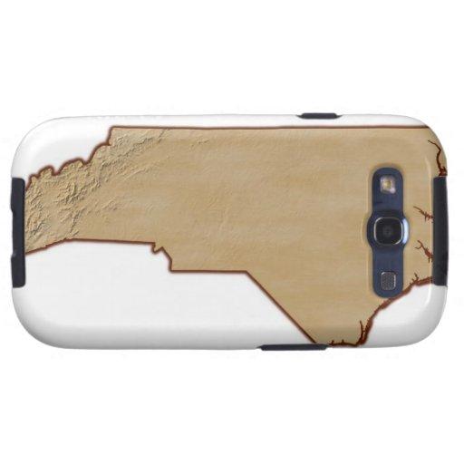 Mapa de alivio de Carolina del Norte Samsung Galaxy S3 Cárcasa