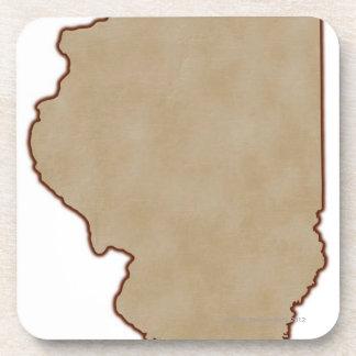 Mapa de alivio de Illinois Posavasos De Bebidas