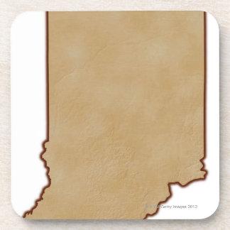 Mapa de alivio de Indiana 2 Posavasos De Bebidas