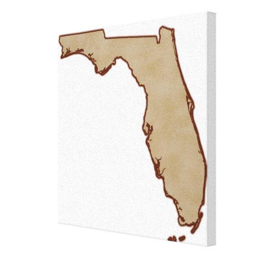 Mapa de alivio de la Florida Lona Envuelta Para Galerías