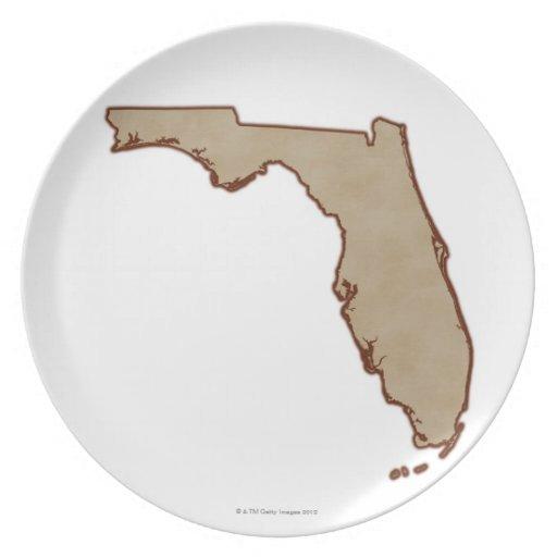 Mapa de alivio de la Florida Plato Para Fiesta