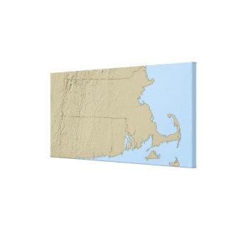 Mapa de alivio de Massachusetts Impresión En Tela