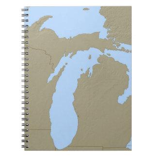 Mapa de alivio de Michigan Libreta Espiral
