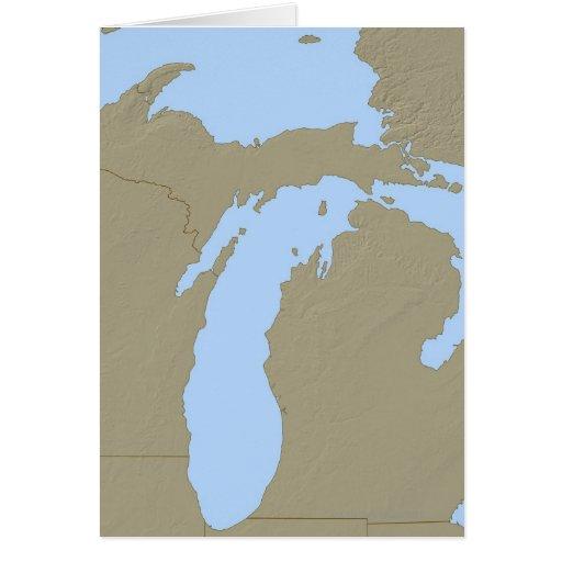 Mapa de alivio de Michigan Felicitación