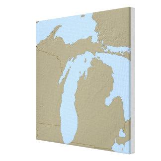 Mapa de alivio de Michigan Impresión En Lienzo