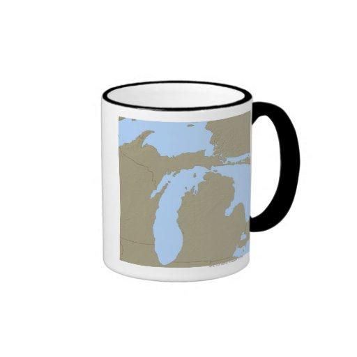 Mapa de alivio de Michigan Taza De Dos Colores