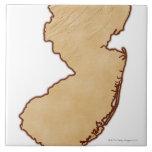 Mapa de alivio de New Jersey Azulejo Cuadrado Grande